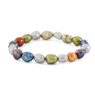 Gioelli Sterling Silver Multi-colored Freshwater Pearl Bracelet (4-5mm)