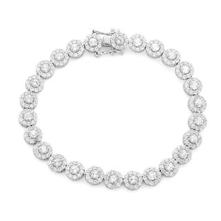 Gioelli Sterling Silver Created White Sapphire Tennis Bracelet