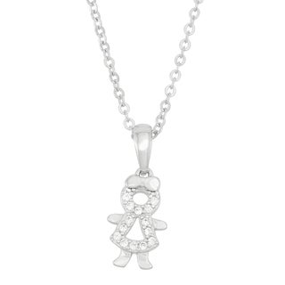 Sterling Silver Pave Cubic Zirconia Little Girl Necklace