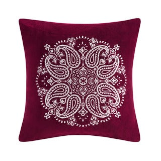 Madison Park Cotton Velvet Medallion Embroidered Square 20-inch Down Filled Throw Pillow - 6 Color Options