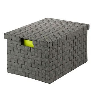 Large Woven File Box, salt&pepper