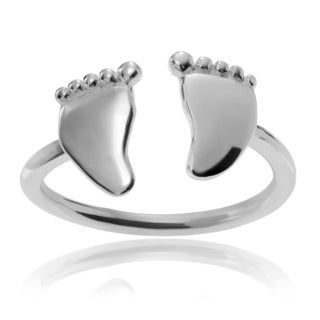 Journee Collection Sterling Silver Baby Feet Adjustable Toe Ring