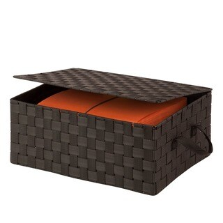 Honey-Can-Do hinged lid woven storage box, espresso