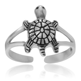 Journee Collection Sterling Silver Turtle Adjustable Toe Ring