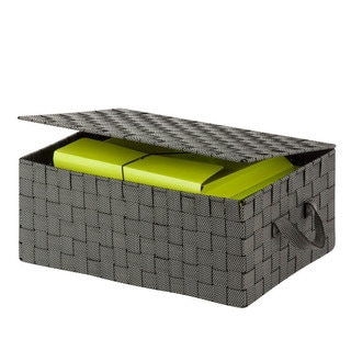 hinged lid woven storage box, salt & pepper