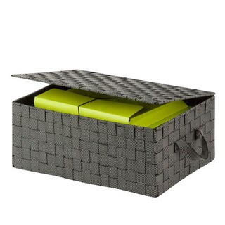 Honey-Can-Do hinged lid woven storage box, salt & pepper