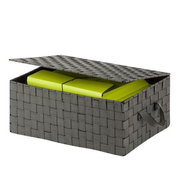 Honey-Can-Do hinged lid woven storage box, salt & pepper