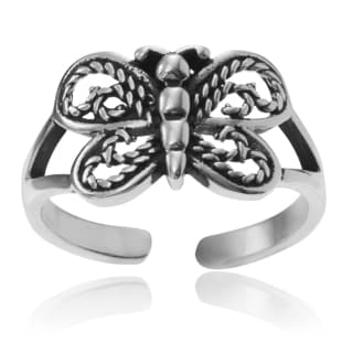 Journee Collection Sterling Silver Butterfly Adjustable Toe Ring