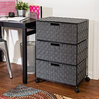 Honey-Can-Do 3-Drawer Chest with Wheels, salt&pepper