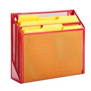 vertical file sorter, red
