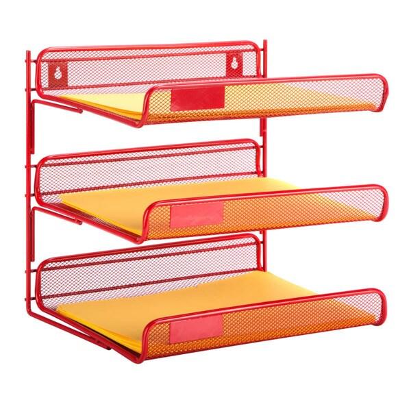 Honey Can Do 3 Tier Red Desk Organizer