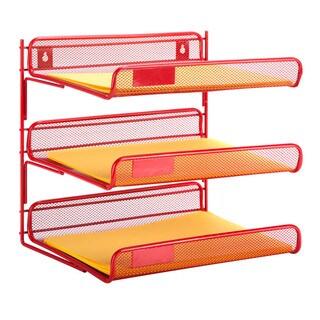 3-tier desk organizer, red