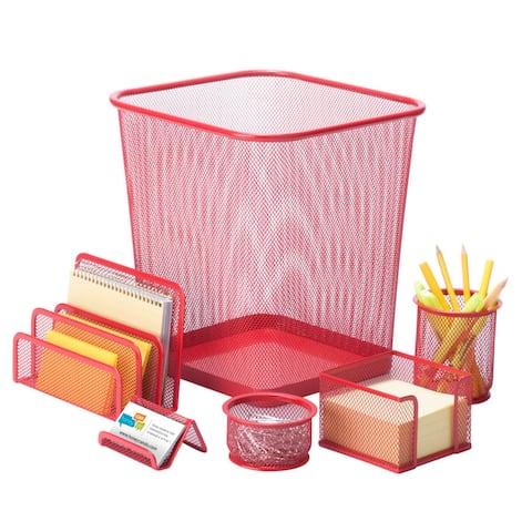 Honey Can Do 6pc steel mesh , reddesk set