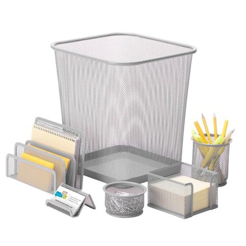 Honey-Can-Do 6pc steel mesh, silver desk set