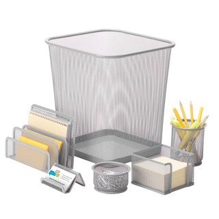 6pc steel mesh, silver desk set