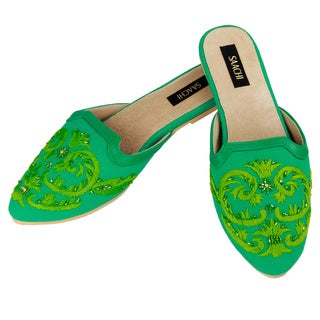 Saachi Women's Hand Embroidered Slides (India)