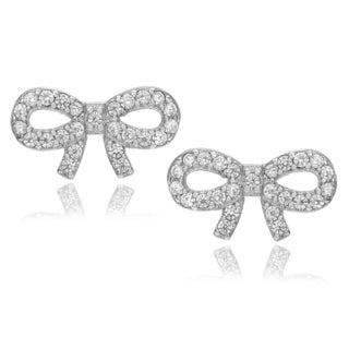 Journee Collection Sterling Silver Cubic Zirconia Accent Bow Stud Earrings