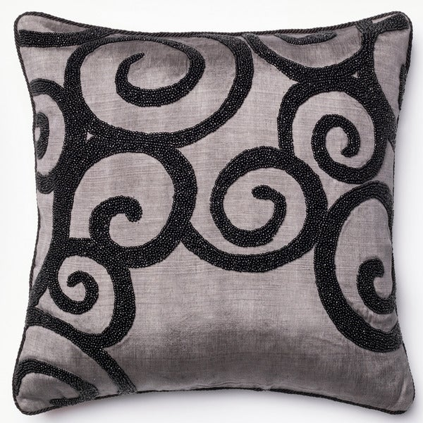 Beaded Grey/ Black Scroll 18-inch Throw Pillow or Pillow Cover