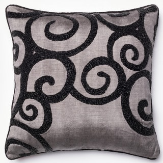 Beaded Grey/ Black Scroll Down Feather or Polyester Filled 18-inch Throw Pillow or Pillow Cover