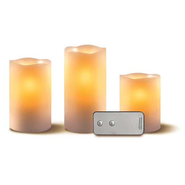 Apothecary & Company 3-piece LED Battery-operated Wax Candle Set with Remote
