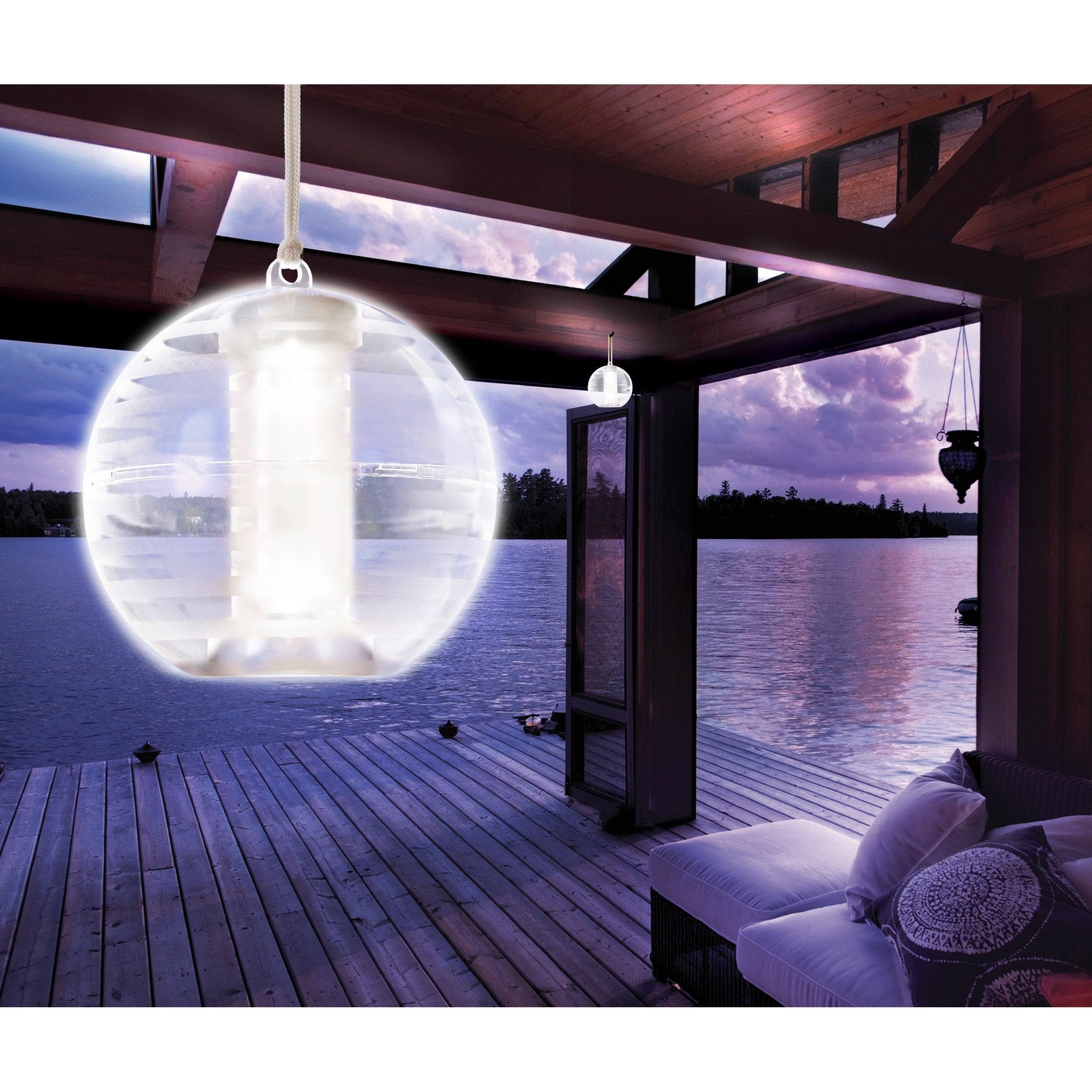 Apothecary Company Outdoor LED Solar Orb Light, Beige Off...
