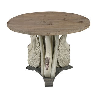 Baywood Swan Accent Table with Wooden Top