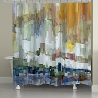 Laural Home Abstract Brushstrokes Shower Curtain 71 Inch X 74