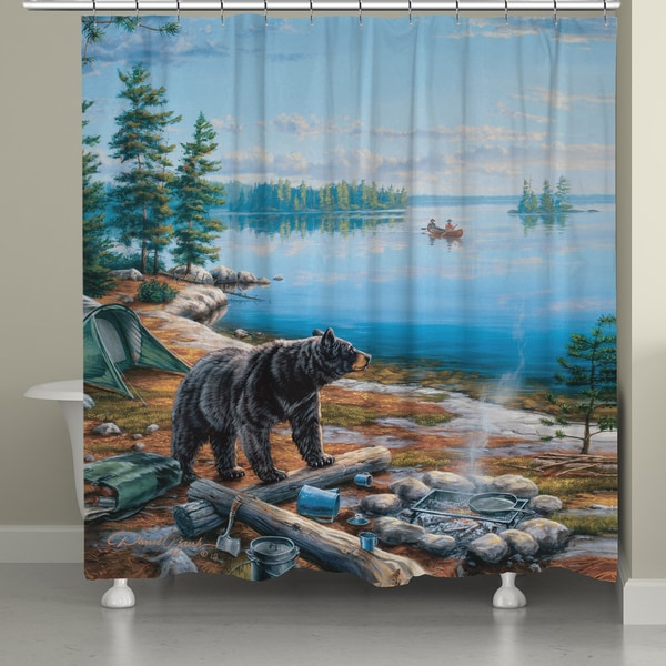 Laural Home Bear by Lake Shower Curtain (71-inch x 74-inch)