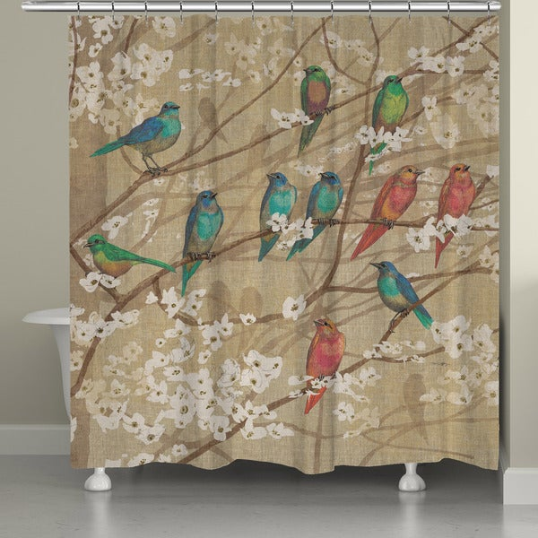 Laural Home Birds In Bloom Shower Curtain 71 Inch X 74