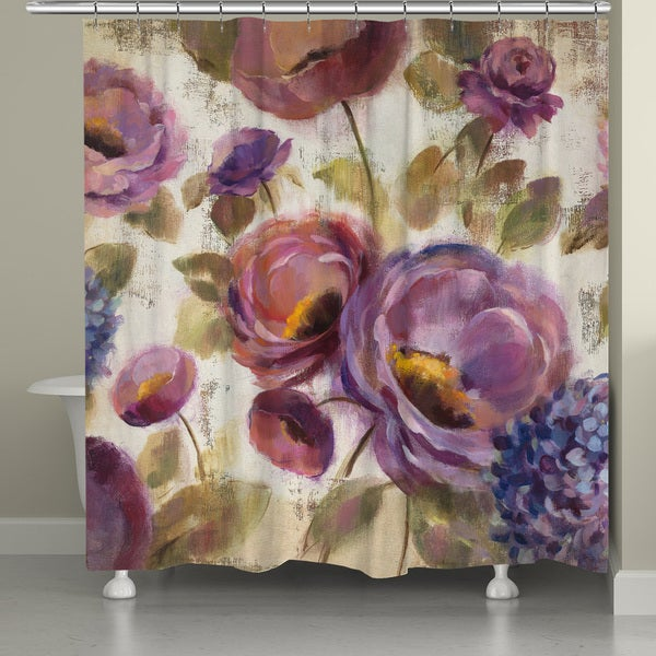 Laural Home Blue and Purple Florals Shower Curtain (71-inch x 74-inch)