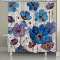 Laural Home Blue Anemones Shower Curtain (71-inch x 74-inch)