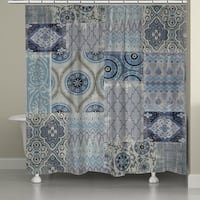 Laural Home Blue Patchwork Shower Curtain (71-inch x 74-inch)