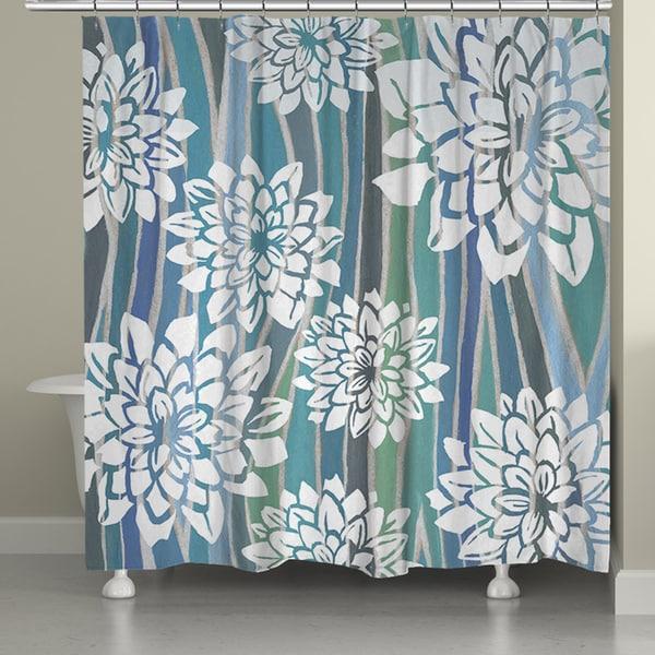 Shop Laural Home Blue Stripe Dahlias Shower Curtain 71 Inch X 74