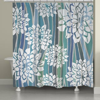 Laural Home Blue Stripe Dahlias Shower Curtain (71-inch x 74-inch)