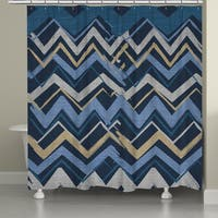Laural Home Blue Stripe I Shower Curtain (71-inch x 74-inch)