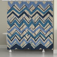 Laural Home Blue Stripe II Shower Curtain (71-inch x 74-inch)