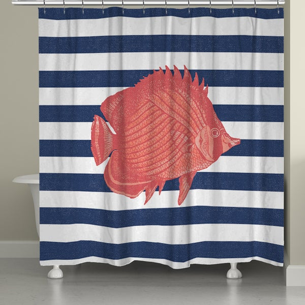 Laural Home Coral Fish Shower Curtain (71-inch x 74-inch)