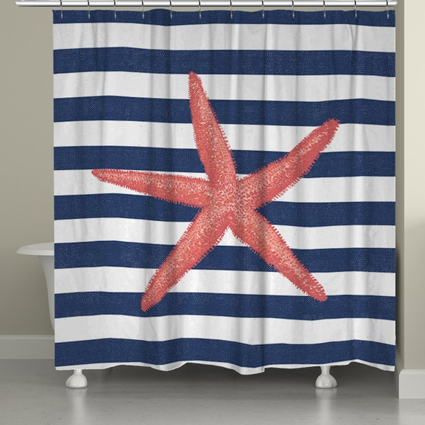 Laural Home Coral Starfish Shower Curtain (71-inch x 74-inch)