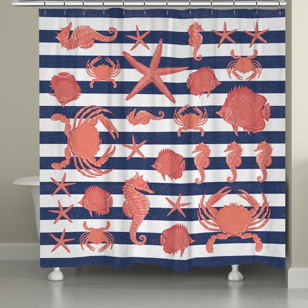 Laural Home Creatures of the Sea Shower Curtain (71-inch x 74-inch)