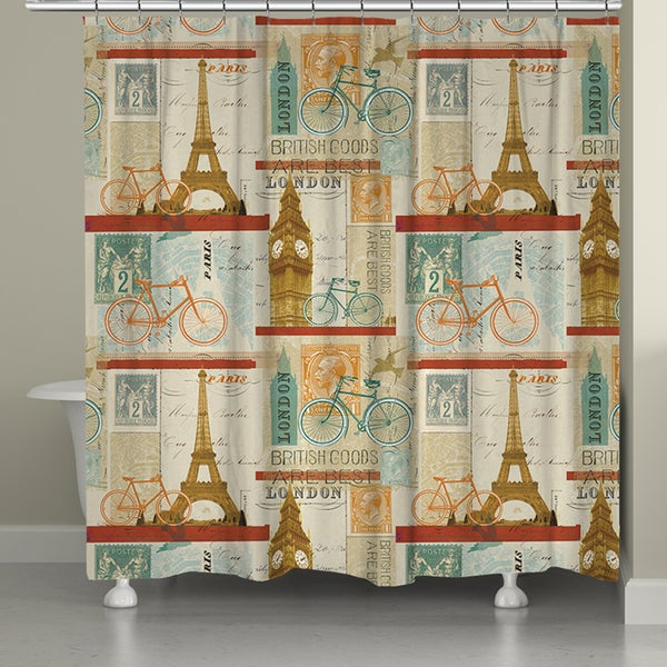 Laural Home European Postcard Shower Curtain (71-inch x 74-inch)