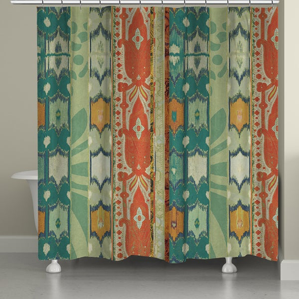 Laural Home Green Ikat Shower Curtain 71 Inch X 74