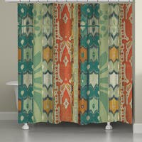 Laural Home Green Ikat Shower Curtain (71-inch x 74-inch)