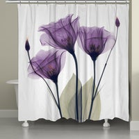 Laural Home X Ray Lavender Floral 71 x 72 inch Shower Curtain Madison Park Isabella Cotton Printed Purple  Free