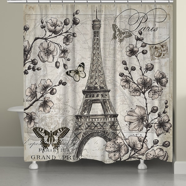 Laural Home Paris in Spring Shower Curtain (71-inch x 74-inch)