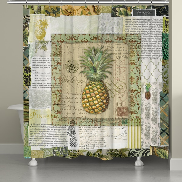 Laural Home Watercolor Pineapple Shower Curtain (71-inch x 74-inch)