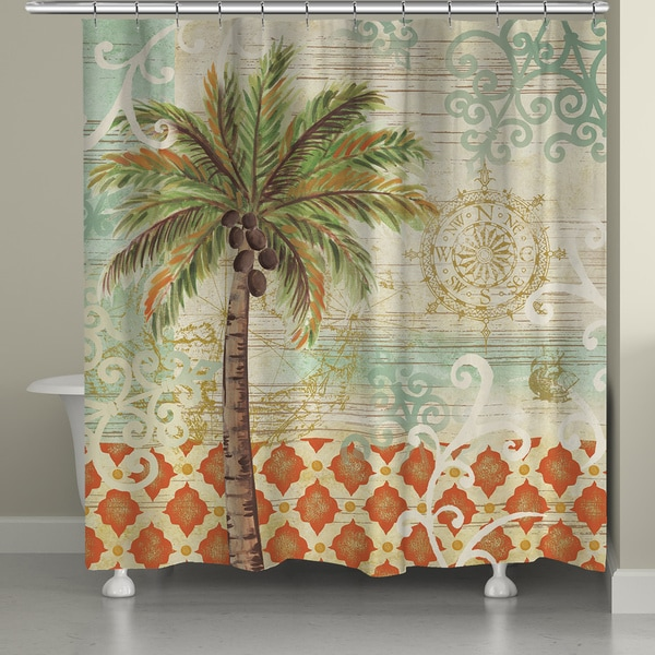 Laural Home Vintage Palm 71 X 72 Inch Shower Curtain