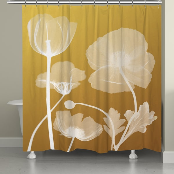 Laural Home X Ray Yellow Floral Shower Curtain 71x74