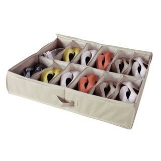 StorageManiac 12-Pair Underbed Shoe Organizer 12-Compartment Sturdy Underbed Storage Bag Shoe Bag