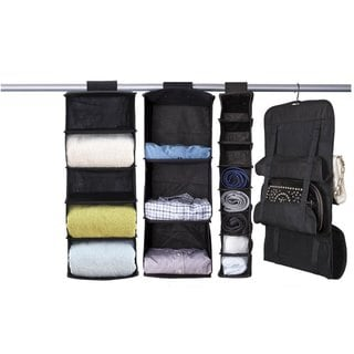 StorageManiac Set of 4 Hanging Closet Organizers Shelf Hanging Closet Shelves and Shelf Handbag Organizer