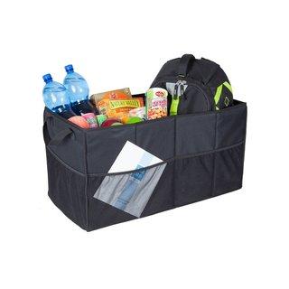StorageManiac Folding 2-Compartment Trunk Organizer with 2 Handles Storage Bag For Car SUV and Truck Black
